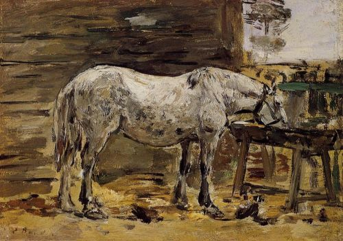 White Horse at the Feeding Trough by Eugène Boudin