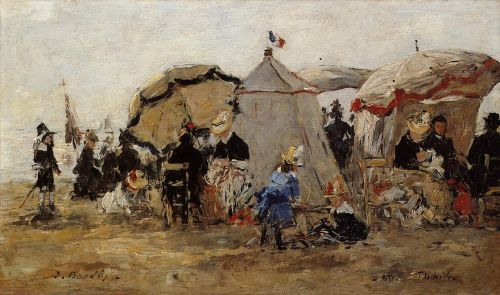Woman and Children on the Beach at Trouville by Eugène Boudin