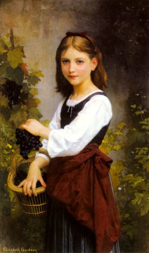 A Young Girl Holding a Basket of Grapes by Elizabeth Gardner Bouguereau