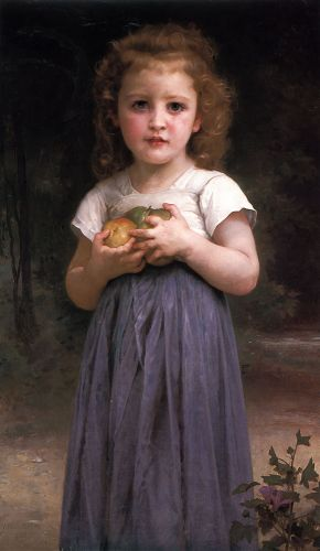 Little girl holding apples in her hands by William-Adolphe Bouguereau