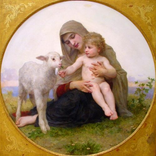 Virgin and Lamb by William-Adolphe Bouguereau