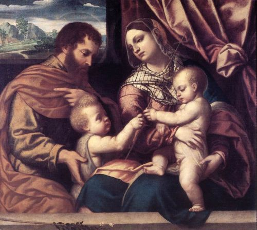 Holy Family by Moretto da Brescia