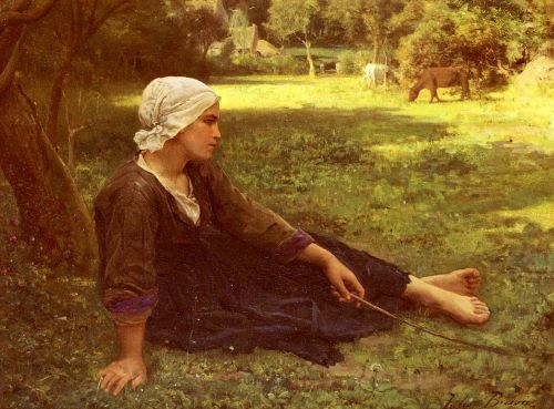 Girl Guarding the Cows by Jules Breton