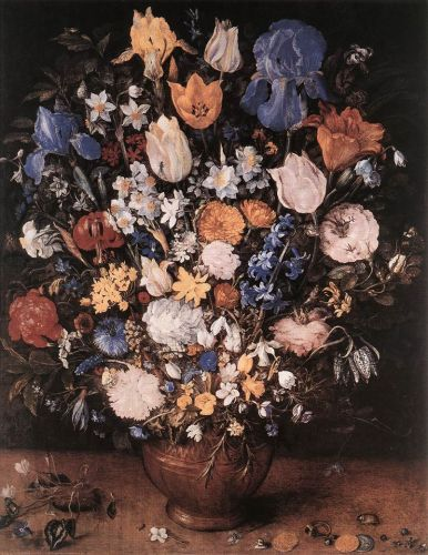 Bouquet in a Clay Vase by Jan the Elder Bruegel