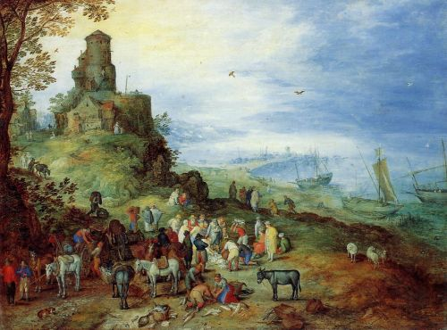 Coastal Landscape with the Calling of the Apostles Peter and by Jan the Elder Bruegel