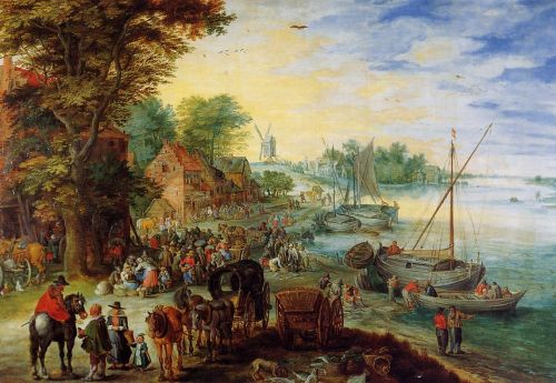 Fish Market on the Banks of the River by Jan the Elder Bruegel