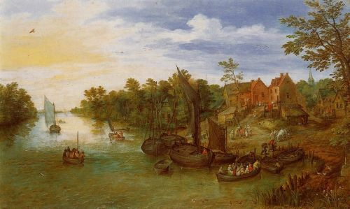 River Landscape with Landing by Jan the Elder Bruegel