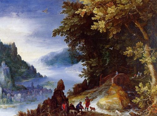 River Landscape with Resting Travellers by Jan the Elder Bruegel