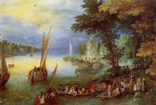 River Landscape by Jan the Elder Bruegel