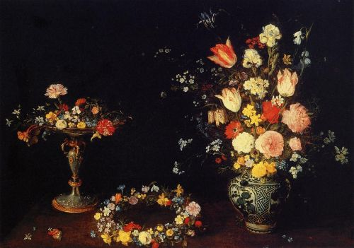 Still Life with a Cop, a Crown of Flowers and a bouquet of F by Jan the Elder Bruegel