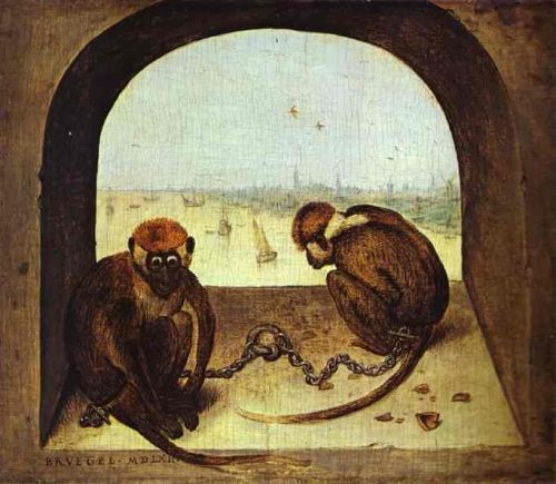 Two Chained Monkeys by Pieter the Elder Bruegel