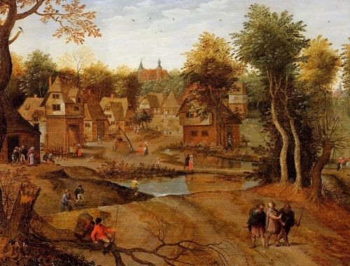 Village Landscape with Ammaus Pilgrims by Pieter the Younger Bruegel