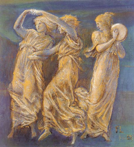 Three Female Figures, Dancing And Playing by Edward Coley Burne-Jones