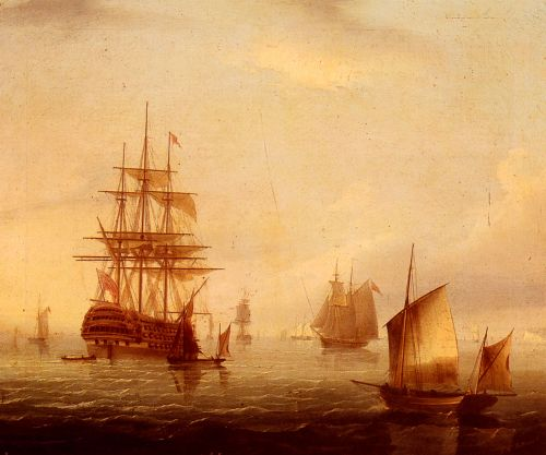 Sailing Vessels Off A Coastline by James Buttersworth