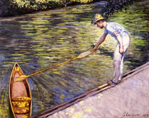 Boater Pulling on His Perissoire by Gustave Caillebotte
