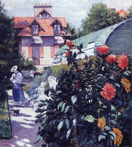Dahlias - The Garden at Petit Gennevilliers by Gustave Caillebotte