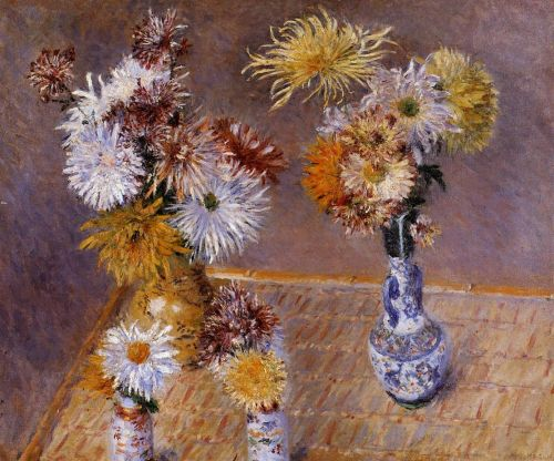 Four Vases of Chrysanthemums by Gustave Caillebotte