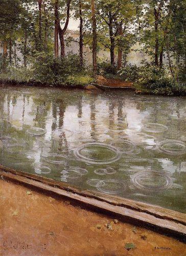 Riverbank in the Rain by Gustave Caillebotte
