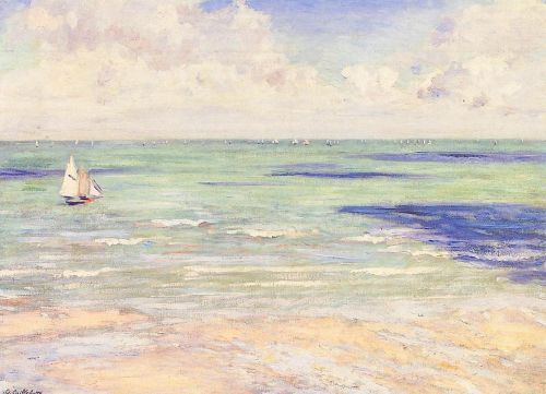 Seascape, Regatta at Villers by Gustave Caillebotte