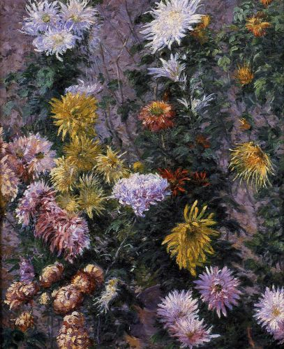 White and Yellow Chrysanthemums by Gustave Caillebotte