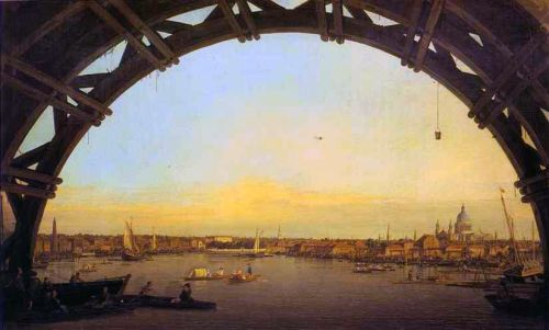 London - Seen through an Arch of Westminster Bridge by Giovanni Antonio Canaletto