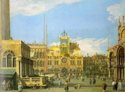 Piazza San Marco - Looking North by Giovanni Antonio Canaletto