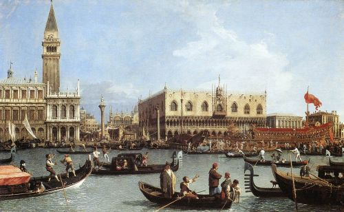Return of the Bucentaurn to the Molo on Ascension Day by Giovanni Antonio Canaletto
