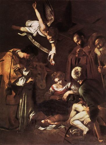 Nativity with St Francis and St Lawrence by Michelangelo Merisi da Caravaggio