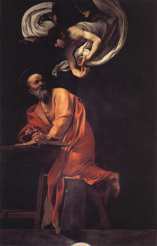 The Inspiration of Saint Matthew by Michelangelo Merisi da Caravaggio