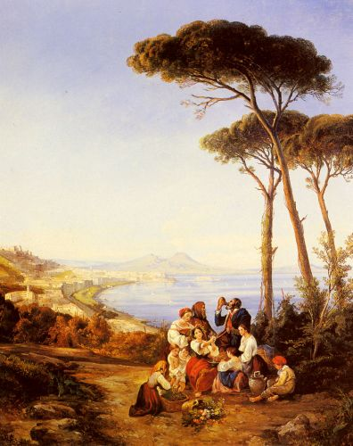 A Group Of Peasants With The Bay Of Naples Beyond by Consalvo Carelli