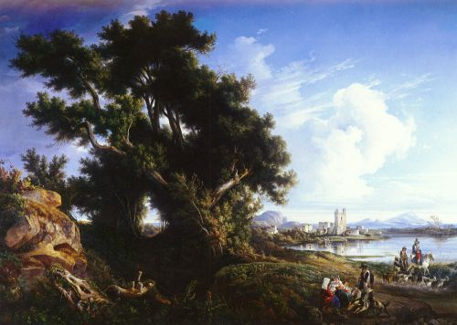 Landscape Near Naples With The Isle Of Capri In The Distance by Consalvo Carelli
