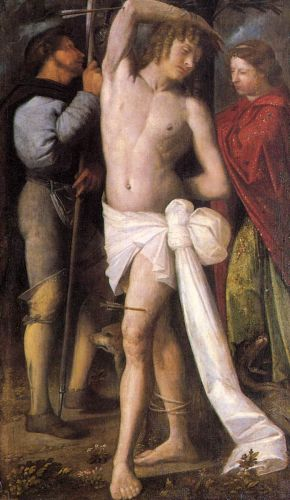 St Sebastian between St Roch and St Margaret by Giovanni Cariani