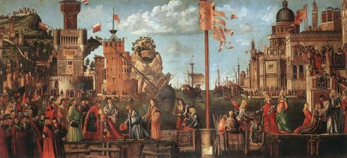 Meeting of the Betrothed Couple and the Departure of the Pil by Vittore Carpaccio