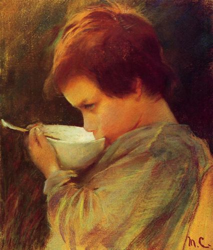 Child Drinking Milk by Mary Cassatt