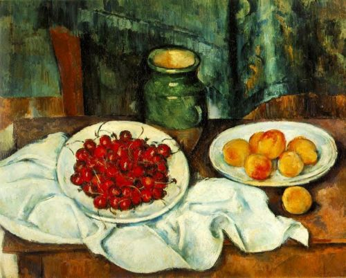 Still Life with a Plate of Cherries (Cherries and Peaches), 1885-1887 by Paul Cézanne