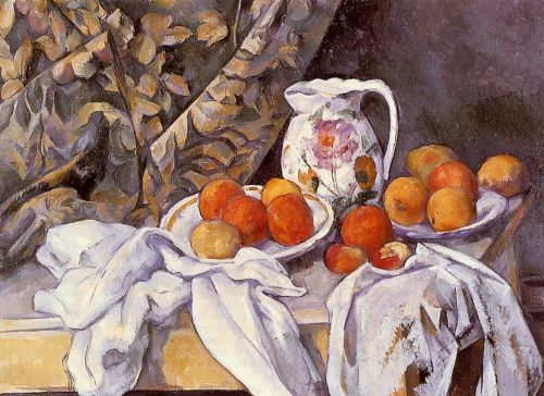 Still Life with Curtain and Flowered Pitcher (Nature morte avec rideau et pichet fleuri), 1899 by Paul Cézanne