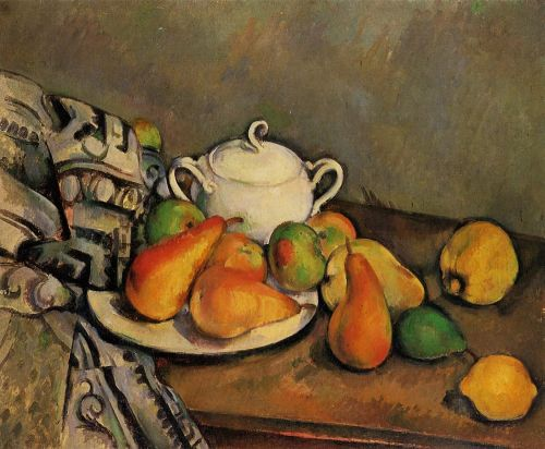 Sugarbowl, Pears and Tablecloth, 1893-1894 by Paul Cézanne