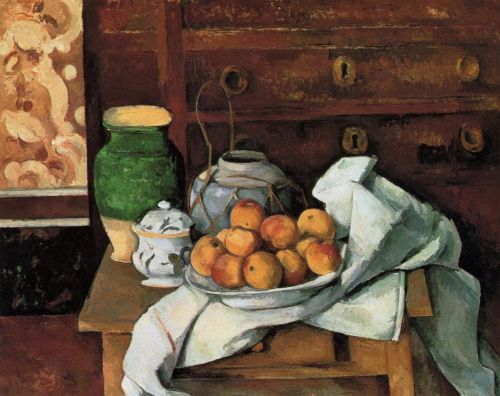 Vessels, Fruit and Cloth in front of a Chest, 1883-1887 by Paul Cézanne
