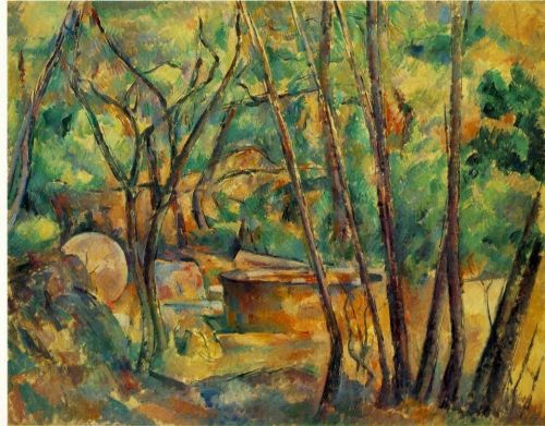 Well, Millstone and Cistern under Trees (Meule et citerne sous bois), 1892 by Paul Cézanne