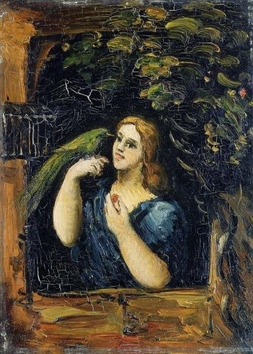 Woman with Parrot, 1862-1864 by Paul Cézanne