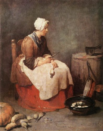 Girl Peeling Vegetables by Jean-Baptiste Simèon Chardin