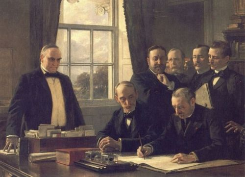 The Signing of the Protocol of Peace Between the United Stat by Theobald Chartran