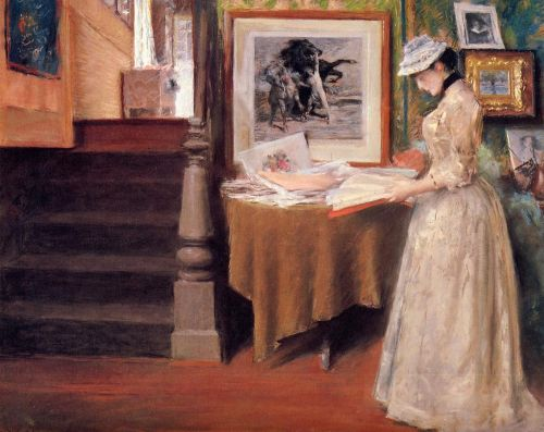 Interior, Young Woman at a Table by William Merritt Chase