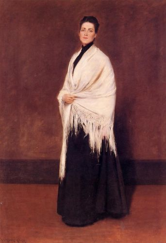 Lady with a White Shawl by William Merritt Chase