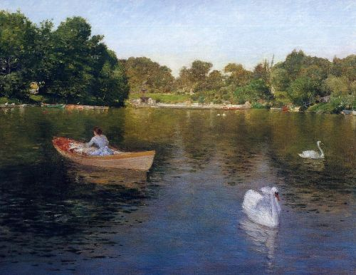 On the Lake, Central Park by William Merritt Chase
