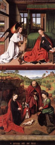 Annunciation and Nativity by Petrus Christus
