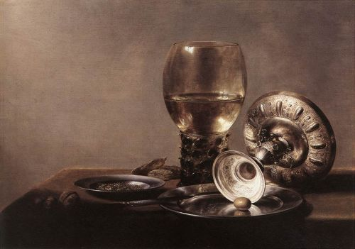Still-life with Wine Glass and Silver Bowl by Pieter Claesz