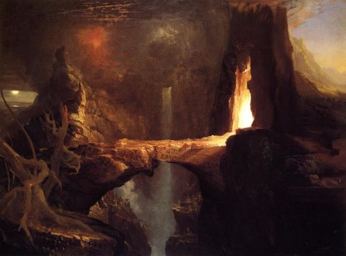 Expulsion - Moon and Firelight by Thomas Cole
