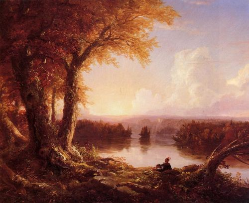 Indian at Sunset by Thomas Cole