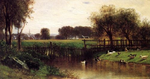 Ducks by a Pond by Samuel Colman